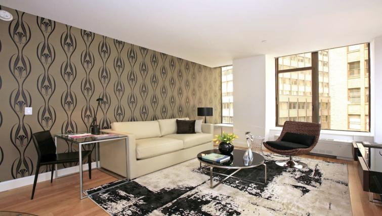 Stylish living area at Hanover Square Apartments